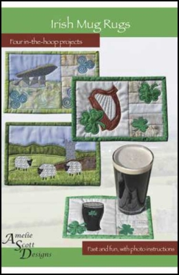 From Amelie Scott Designs NEW SPRING MUG RUGS MACHINE EMBROIDERY PATTERN CD